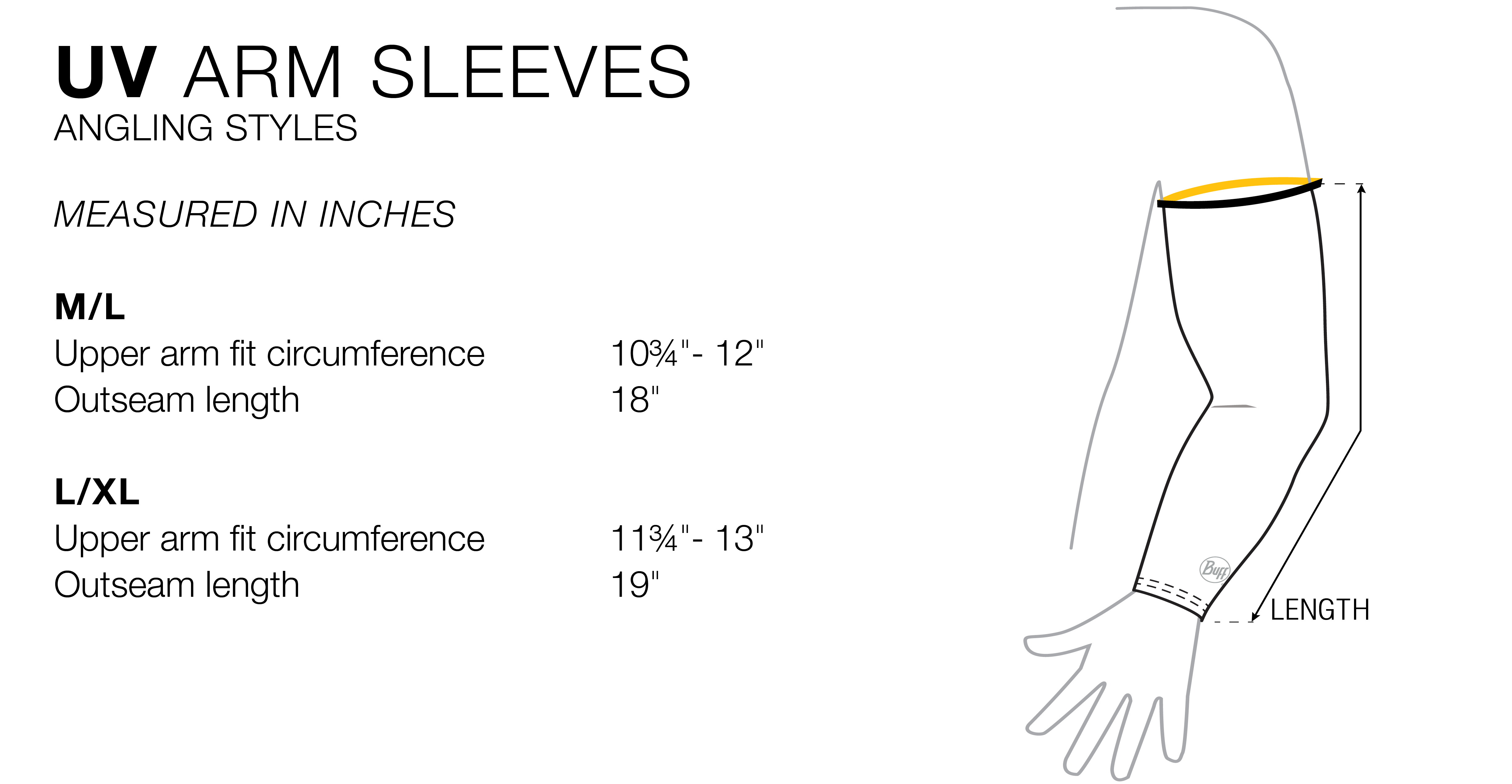 UV Arm Sleeves Buff Original - Size Chart