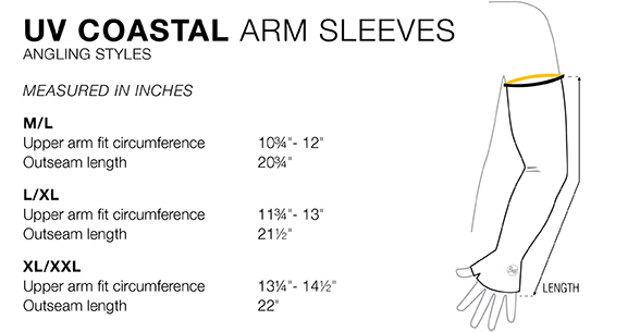 UV Coastal Arm Sleeves Buff Original - Size Chart