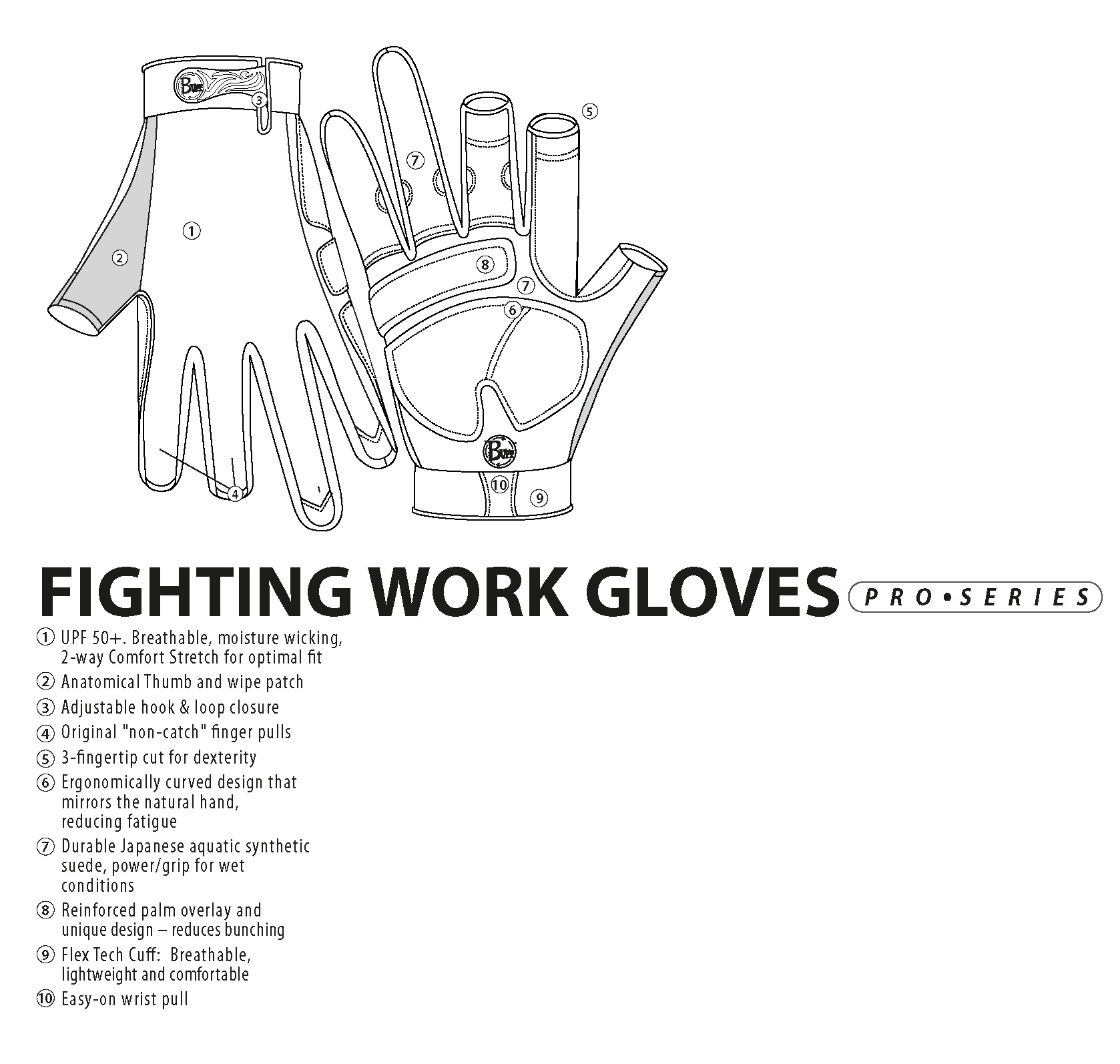 Fly Fishing Gloves Buff Original Fighting & Work Pro Series - Specifications