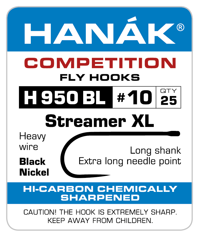 Hanak H950 BL Streamer XL Barbless Competition Fly Tying Fishing Hooks All Sizes