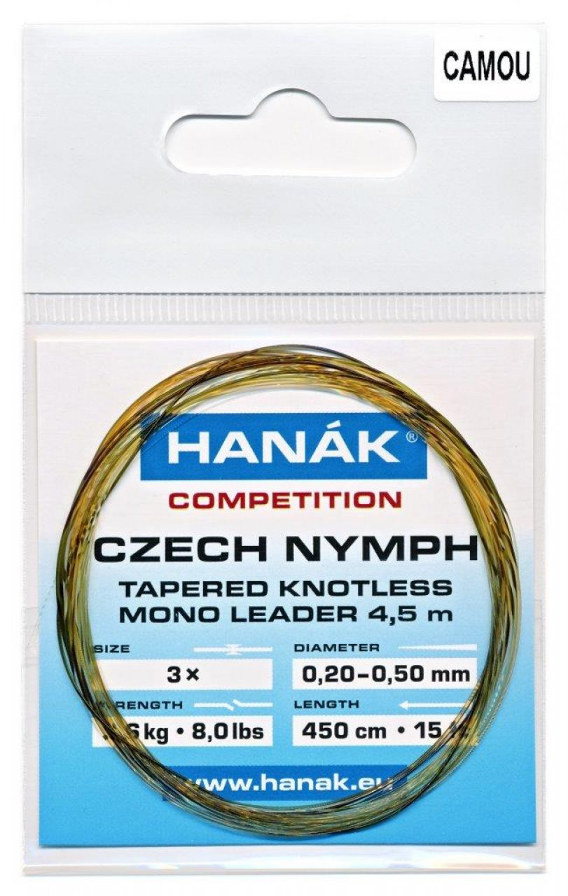 Tapered Knotless Mono Leader Hanák Competition Czech Nymph 4,5 m - Camou
