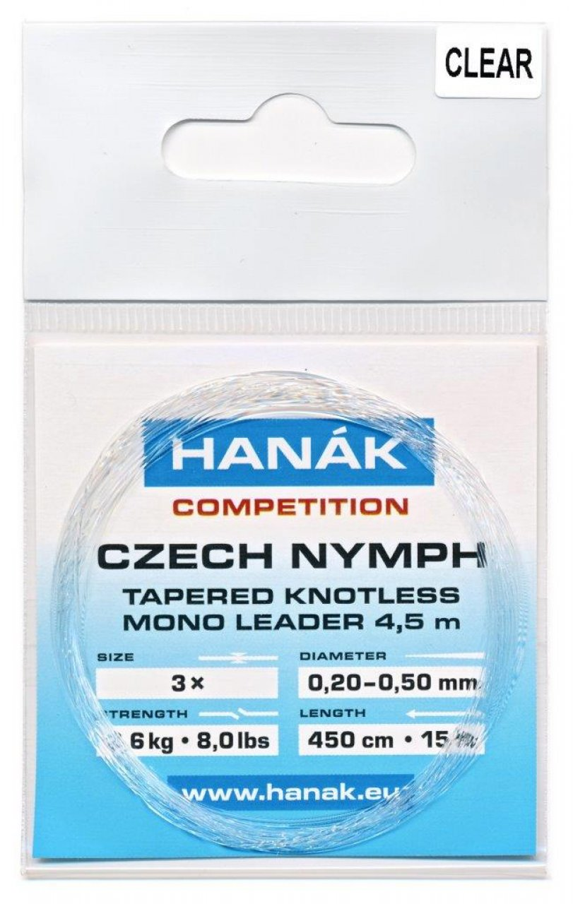 Tapered Knotless Mono Leader Hanák Competition Czech Nymph 4,5 m - Clear