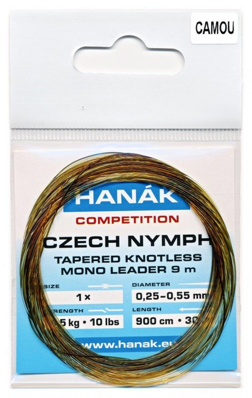 Tapered Knotless Mono Leader Hanák Competition Czech Nymph 9 m - Camou