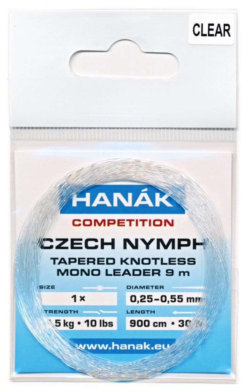Tapered Knotless Mono Leader Hanák Competition Czech Nymph 9 m - Clear