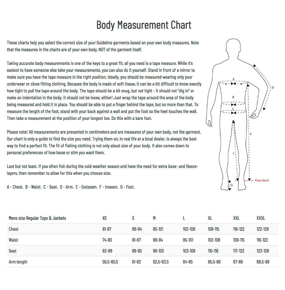 Guideline Body Measurment Chart