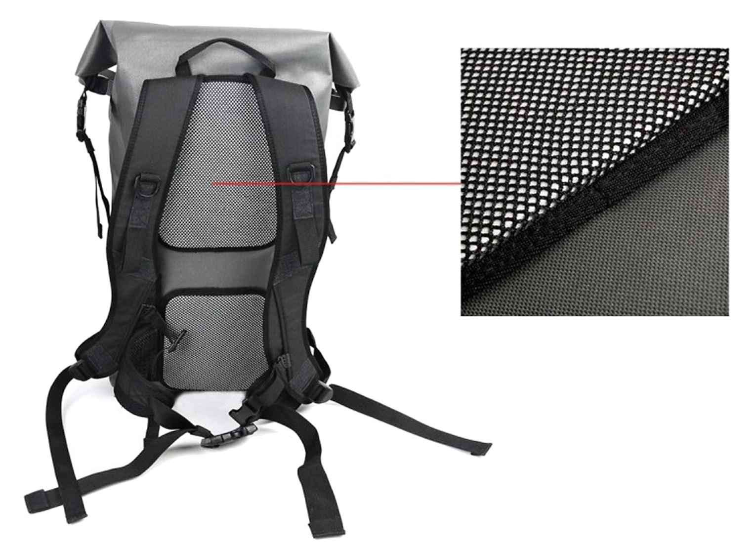 Fly Fishing Roll Top Pack Leichi Airflex Hurricane 30L - Back Side