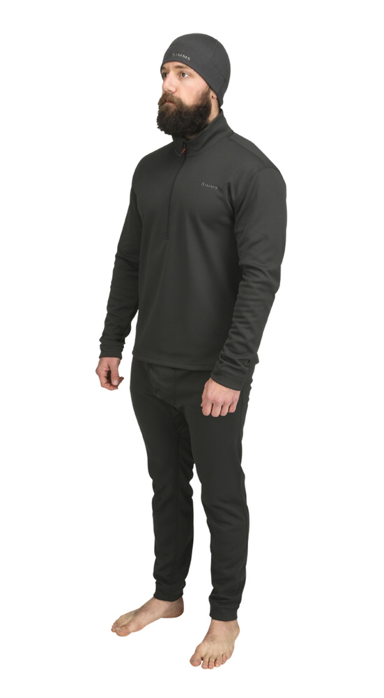 Midweight Core Top Quarter-Zip Simms Carbon - Front Side