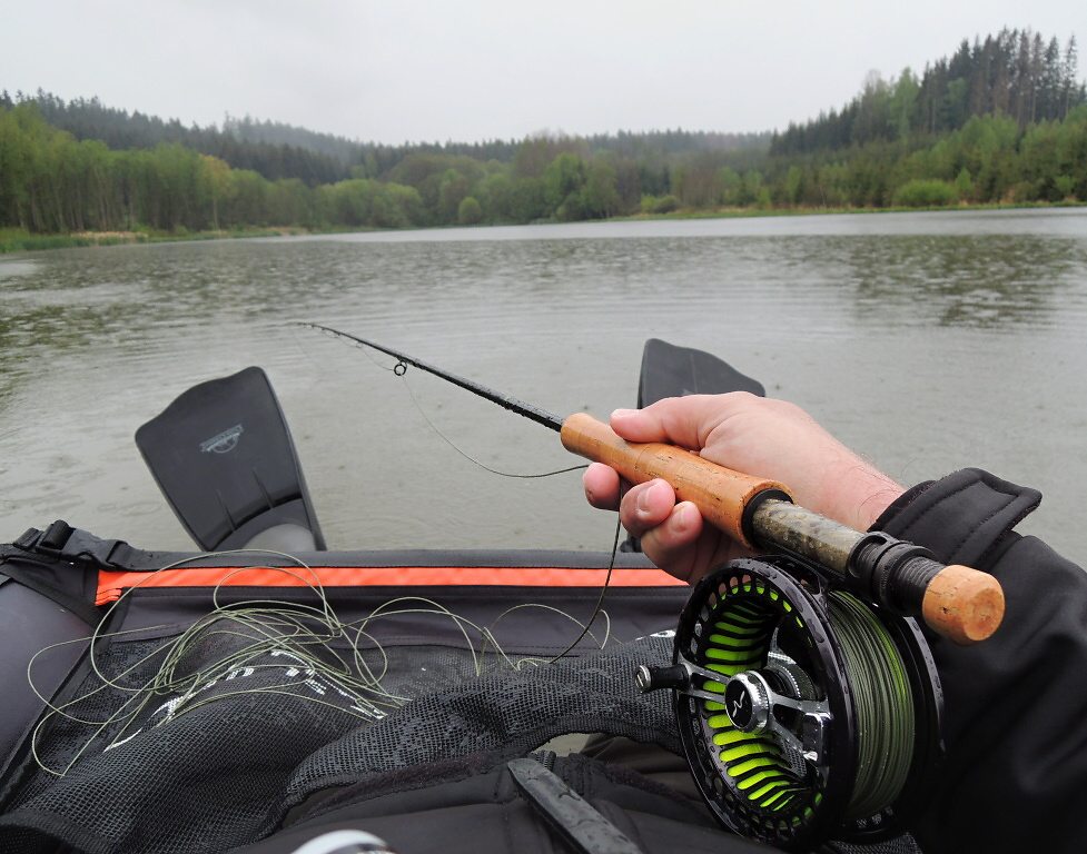 Rainy day on the water with my Belly-Boat and other fly fishing gear from Guideline.