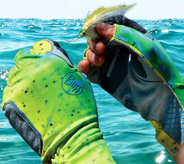 Fly Fishing Gloves Buff Original Fighting & Work Pro Series - In Action