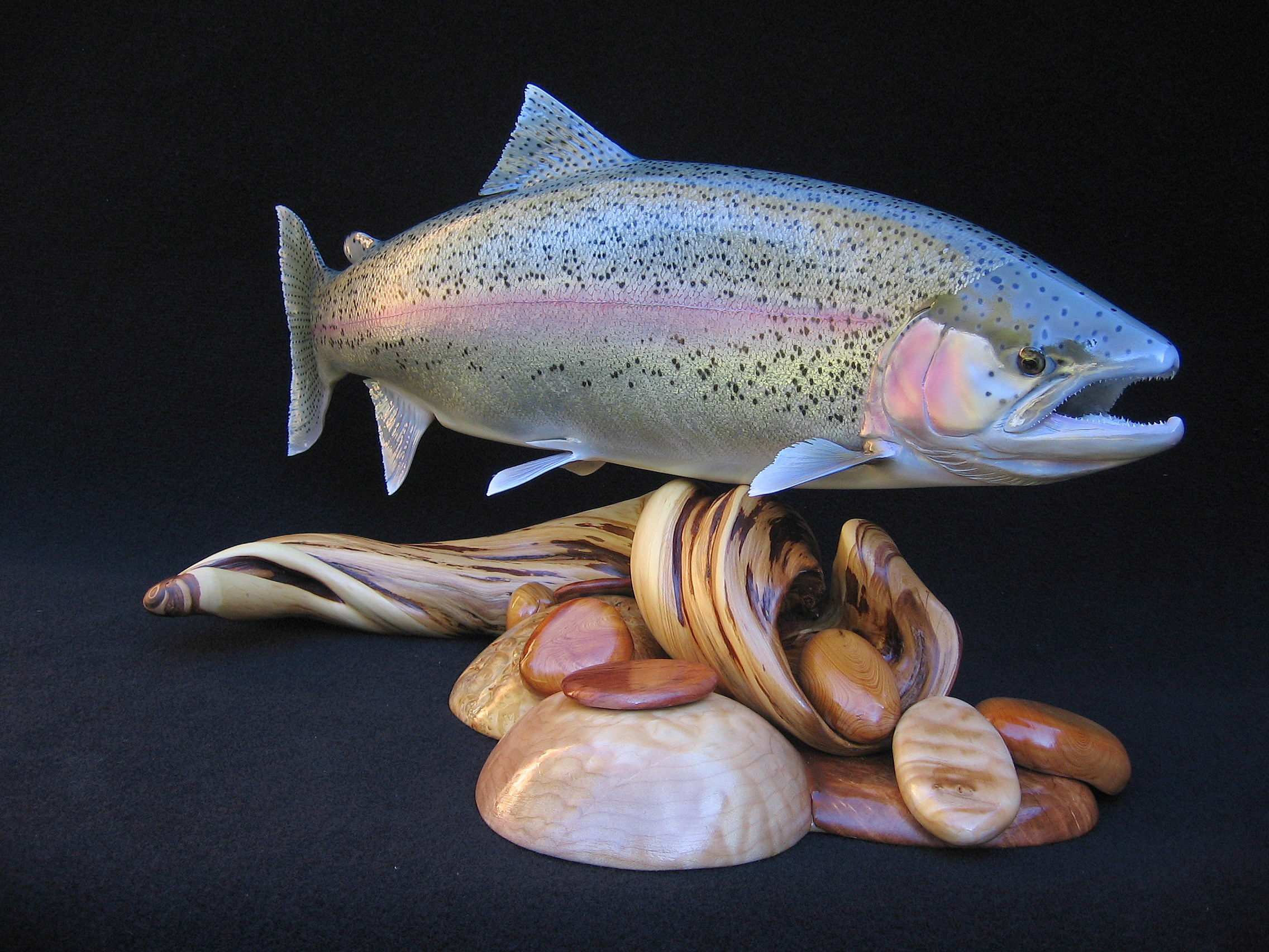 Alaskan Rainbow Trout Replica on Pedestal