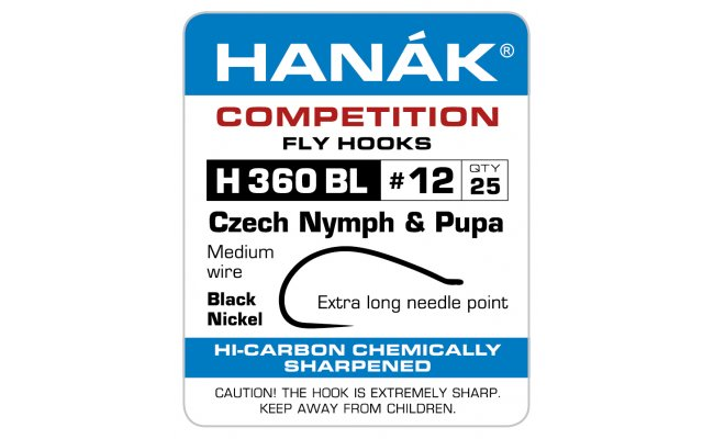 Fly Tying Hook Hanak Competition Gammarus (H360BL) Fly Tying Hook Hanak Competition Gammarus Black Black No 12, 50 pcs (H360BL)